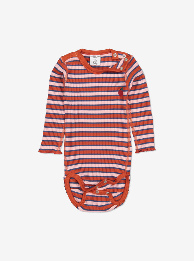 Girls Pink Striped Ribbed Baby Bodysuit 0-1y