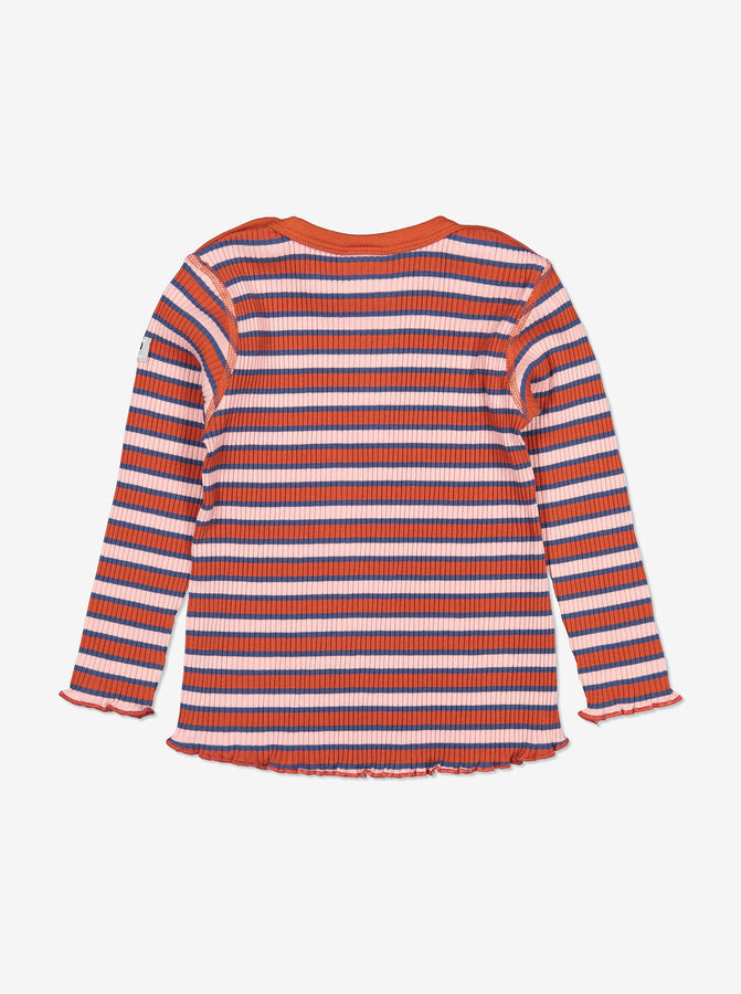 Girls Pink Striped Ribbed Baby Top 0-1y