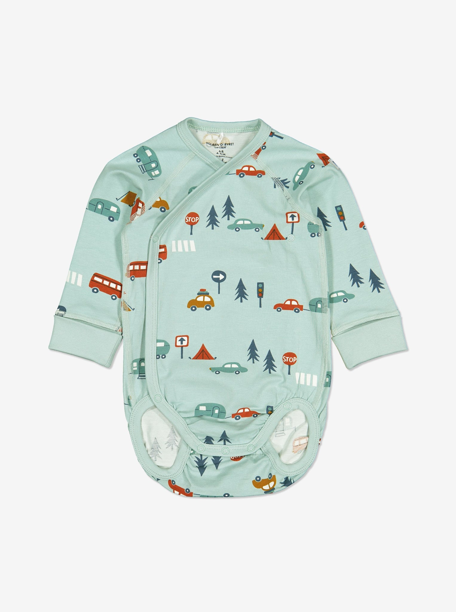 Unisex Blue Camping Print Wraparound Baby Top 0-6m
