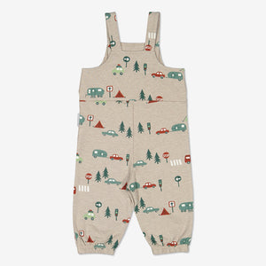Unisex White Camping Print Baby Romper 0-1y