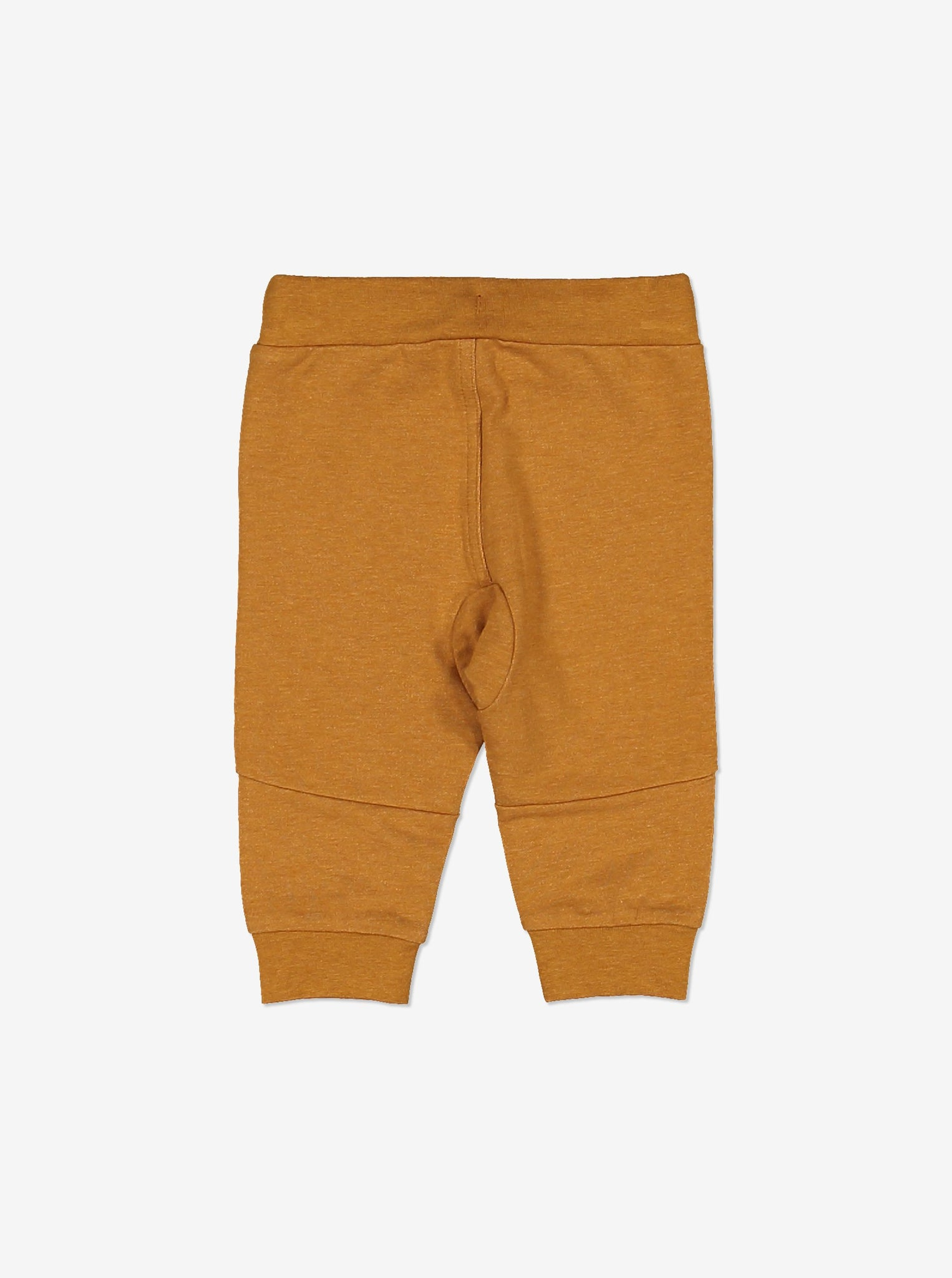Back view of soft brown baby trousers in soft GOTS organic cotton. With contrast draw sting waist, two front pockets and ribbed cuffs to keep them in place.