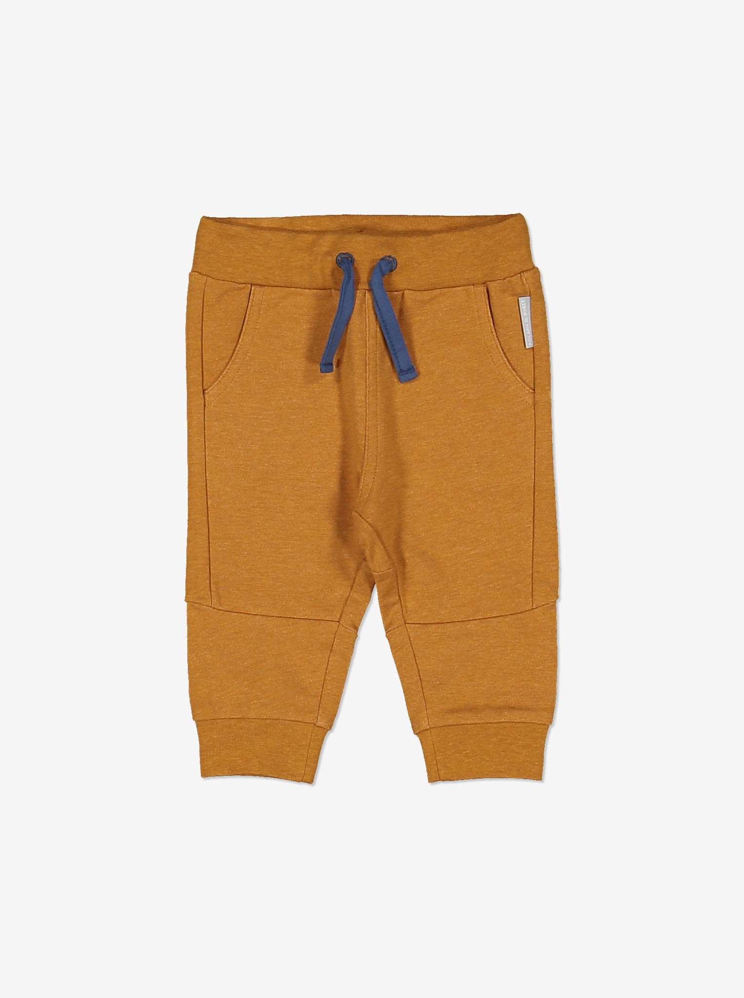 Soft brown baby trousers in soft GOTS organic cotton.  With contrast draw sting waist, two front pockets and ribbed cuffs to keep them in place.