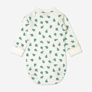 Back view of apple print babygrow for newborn babies in a wraparound style, made from 100% GOTS organic cotton fabric