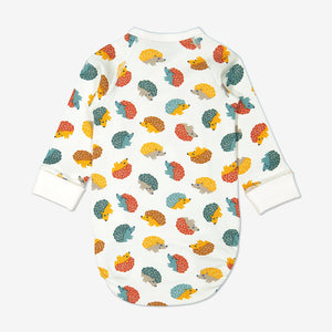 Back view of hedghog print babygrow for newborn babies in a wraparound style, made from 100% organic cotton fabric