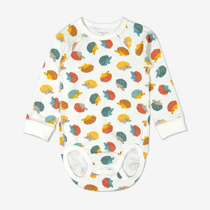 Unisex hedghog print babygrow for babies with long sleeves, made from 100% organic cotton fabric