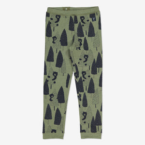 Boys Green Forest Bear Kids Leggings 1-8y