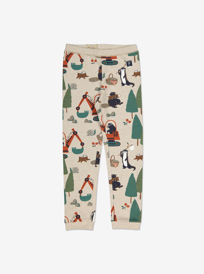 Boys White Animal Adventure Kids Leggings 1-8y