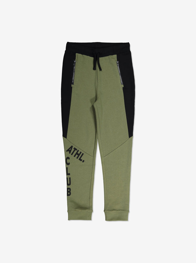 Boys Green Block Colour Kids Sweatpants 6-12y
