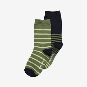 Boys Green Two Pack Kids Socks 2-12y