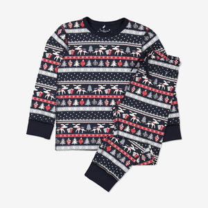 Kids Organic Cotton Christmas Pyjamas 1-12years Navy Unisex