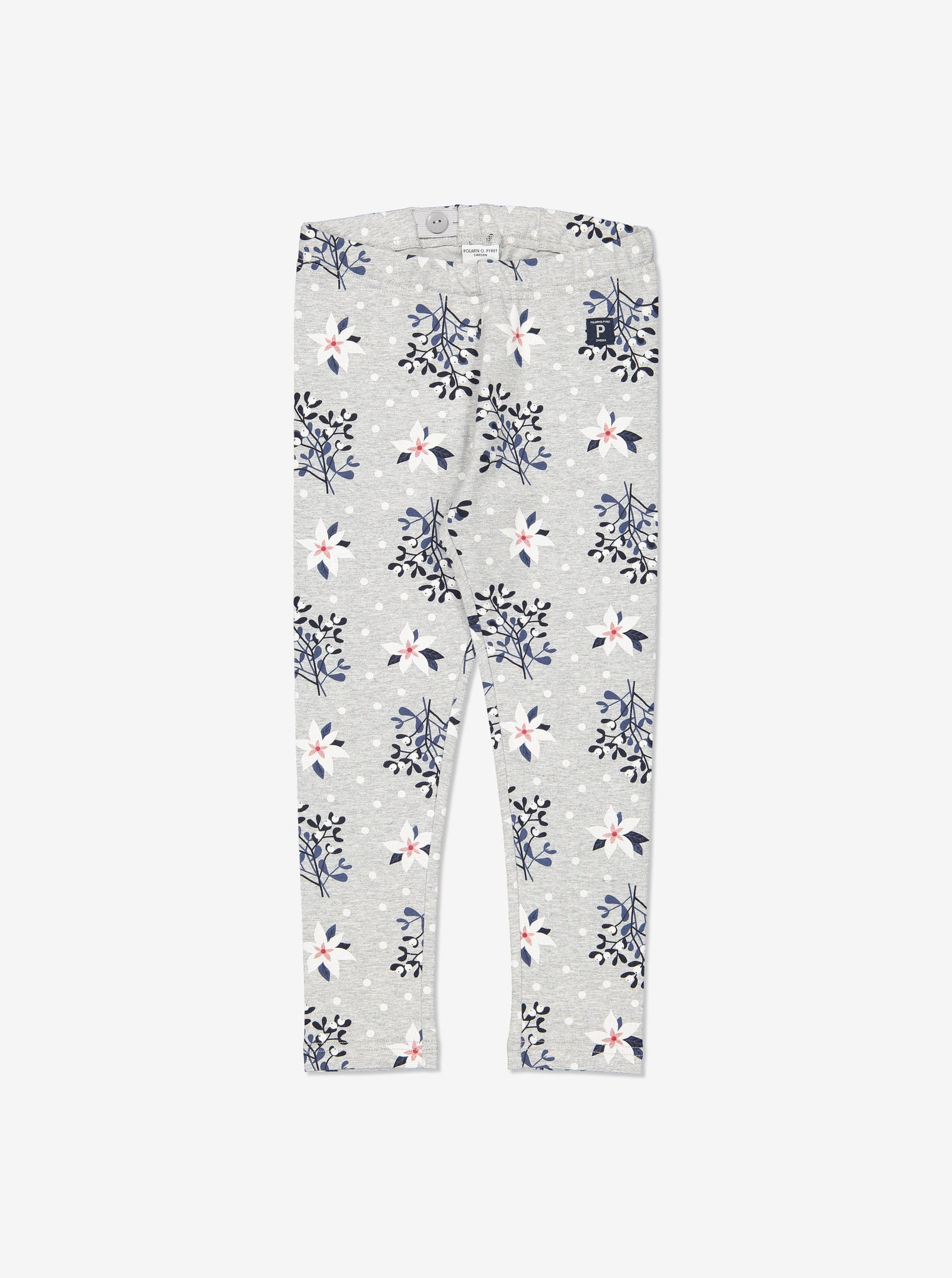 Mistletoe Print Kids Leggings 1-8years Grey Girl