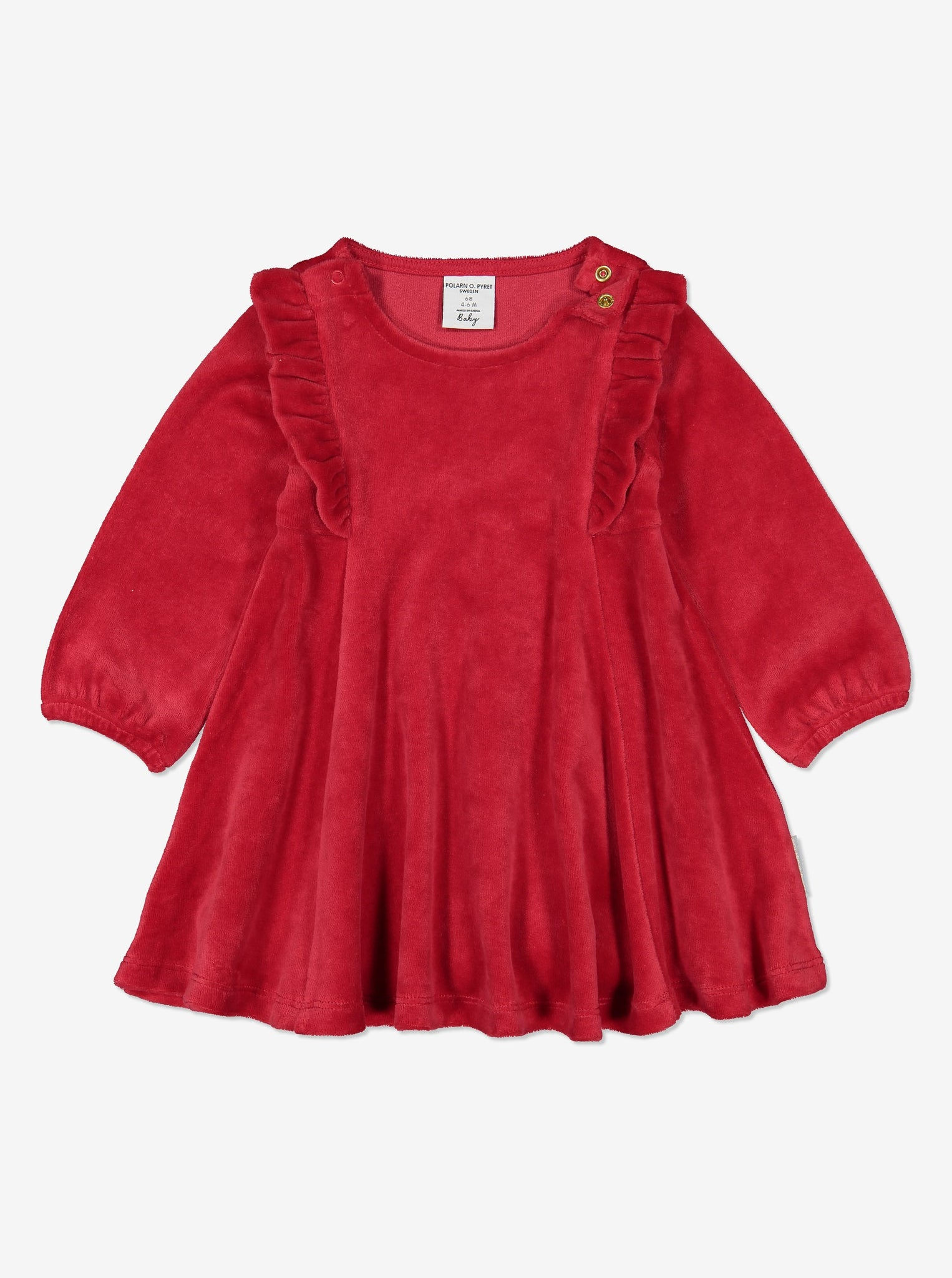 Kids Organic Cotton Soft Velour Dress 0-1years Red Girl