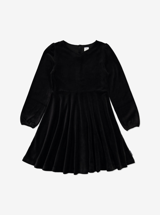 Kids Velour Dress 6-12years Black Girl