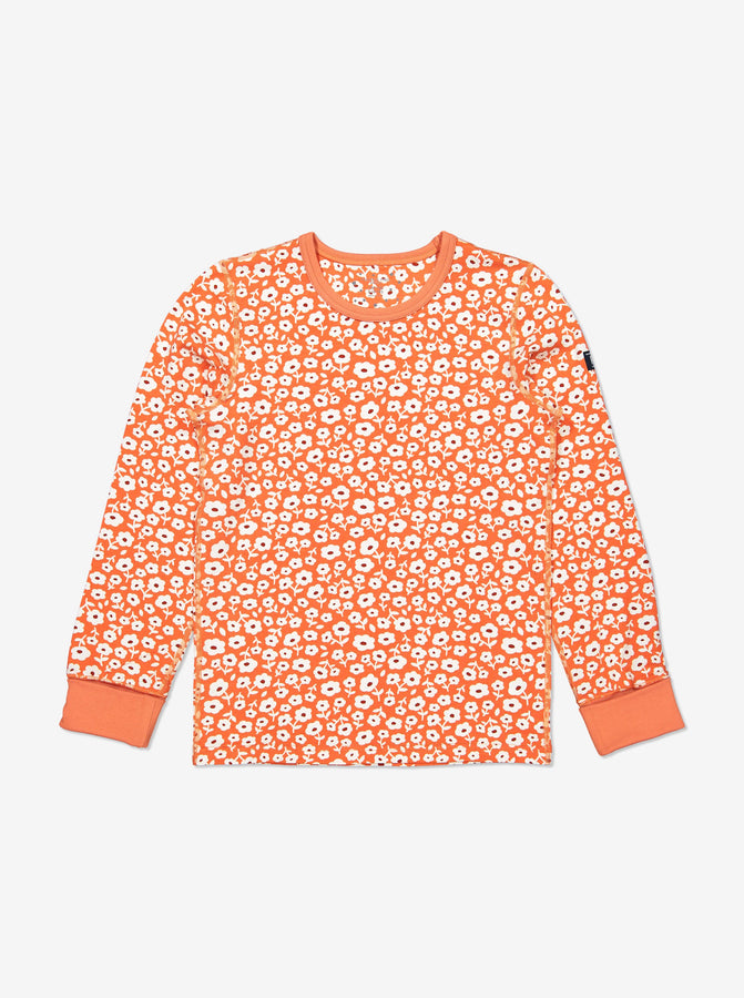 Girls Organic Cotton Orange Flower Print Pyjamas