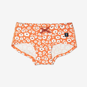 Girls Organic Orange Flowerly Hipster Briefs