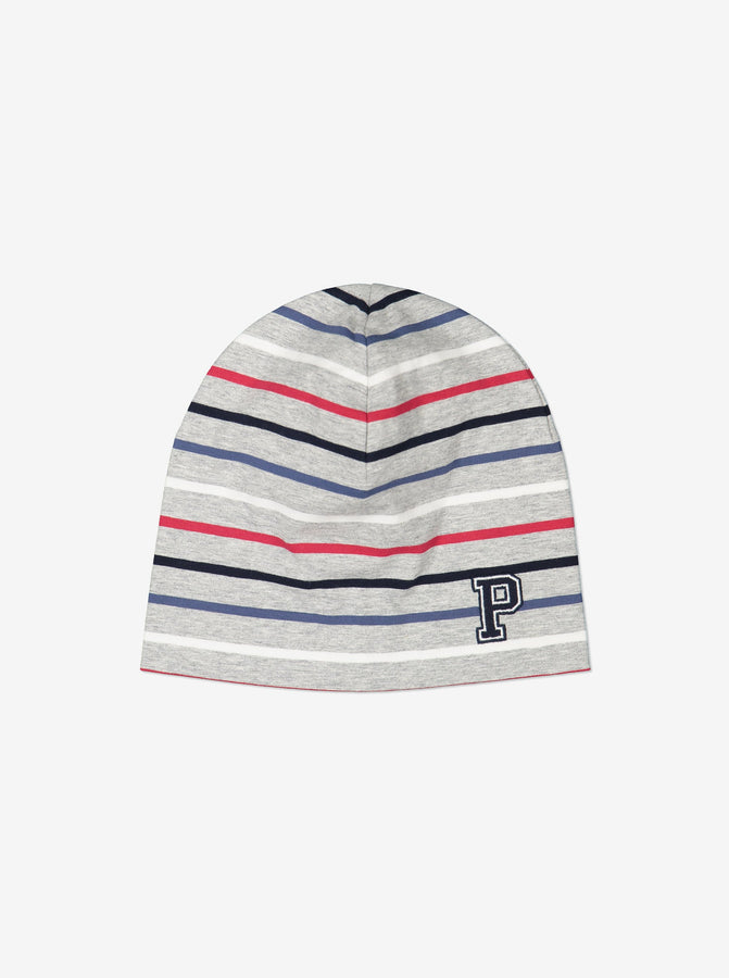 Striped Kids Grey Beanie Hat
