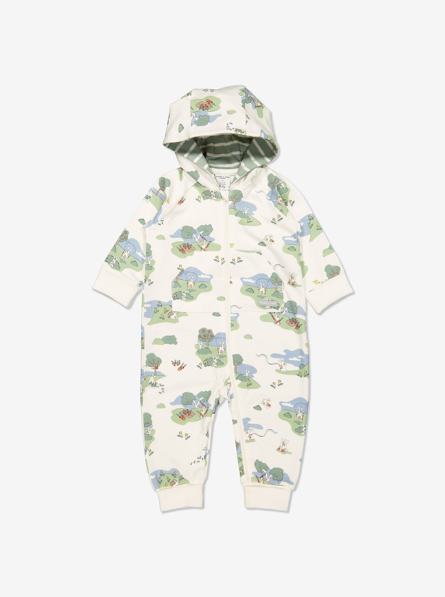 Newborn baby onsie with print of bunnies playing in GOTS organic cotton. With cosy lined hood and full-length zip for speedy dressing and foldable ribbed cuffs for growing room