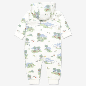 Back view of newborn baby onsie with playful bunny print in GOTS organic cotton. With cosy lined hood and full-length zip for speedy dressing and foldable ribbed cuffs for growing room