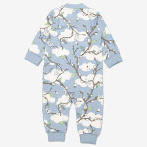 Kids Organic Cotton Blue Cat Print All-in-One