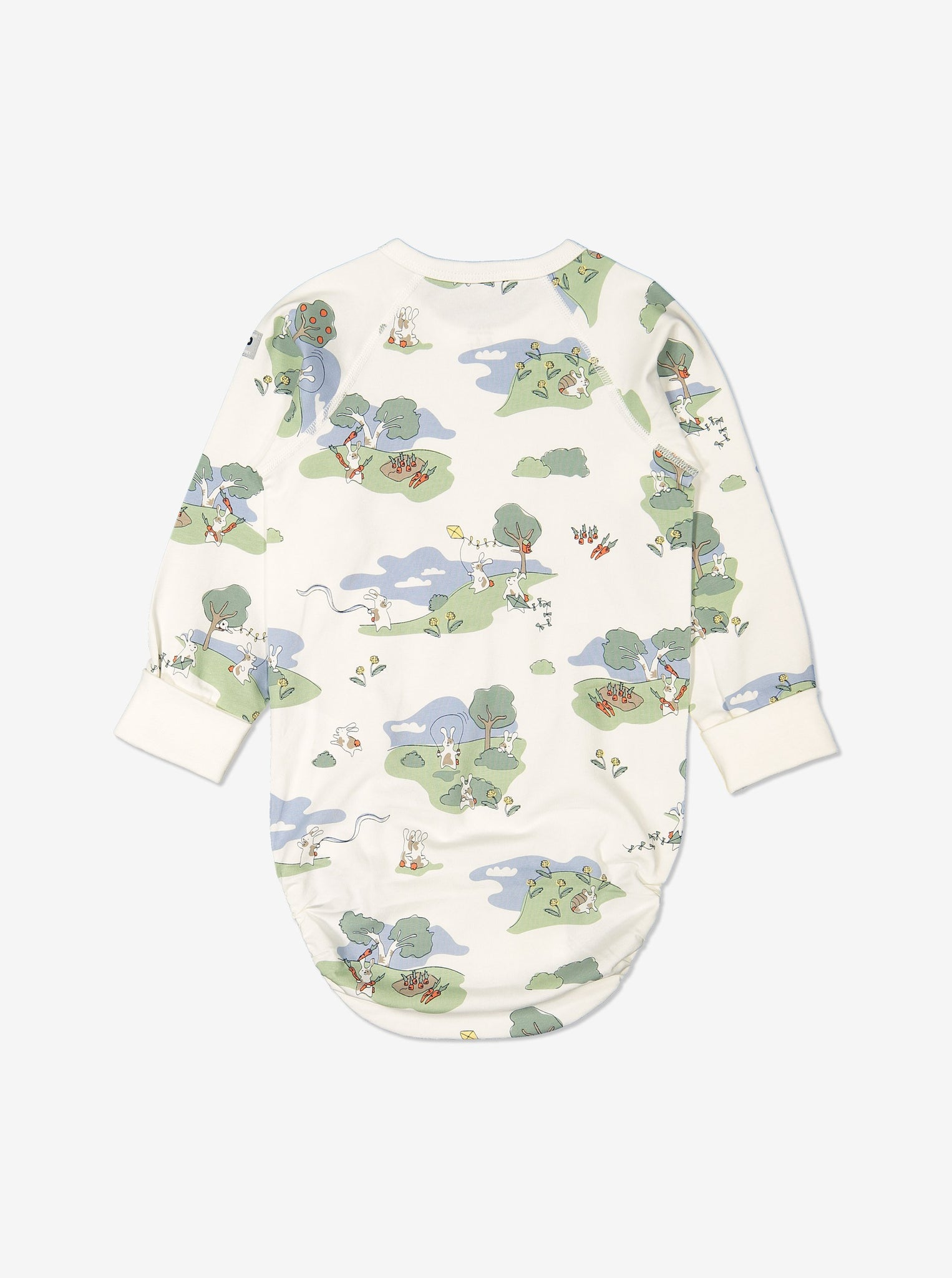 Back view of bunny print babygrow for babies with long sleeves, made from GOTS organic cotton fabric