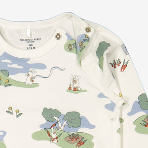 Close up of unisex bunny print GOTS organic cotton babygrow showing shoulder popper fastening for easy dressing