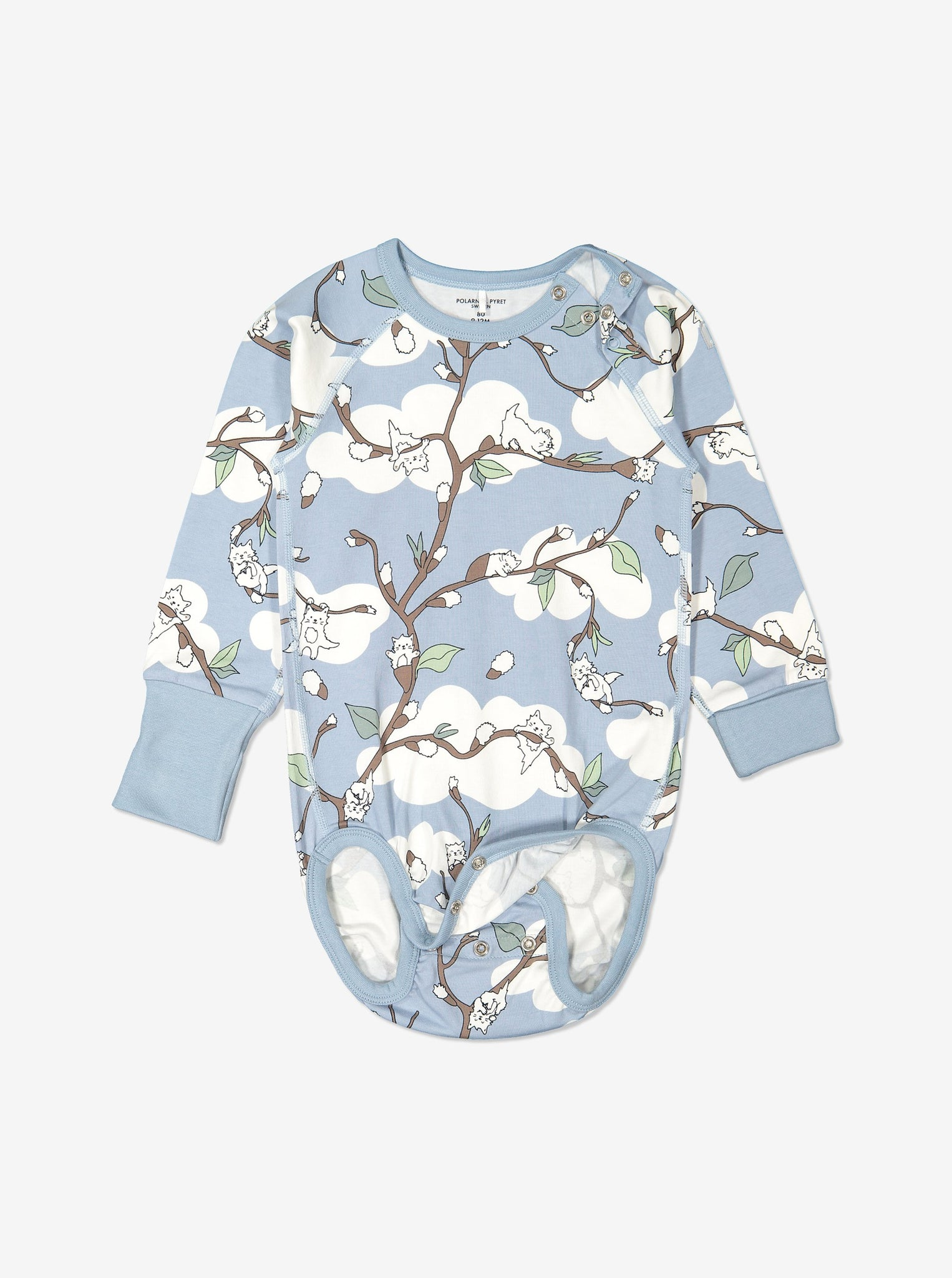 Organic Cotton Babygrow in Blue with Cat Print