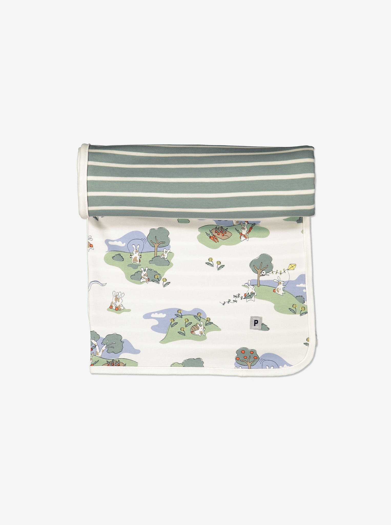 GOTS organic cotton newborn baby blanket/shawl. One side with playful bunny print the other green and white stripes.