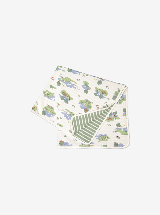 Folded GOTS organic cotton newborn baby blanket/shawl. One side with playful bunny print the other green and white stripes.
