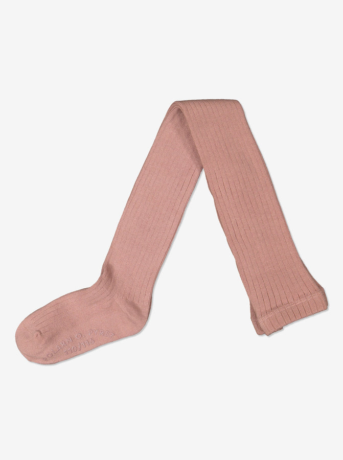Girls Soft Organic Cotton Pink Tights