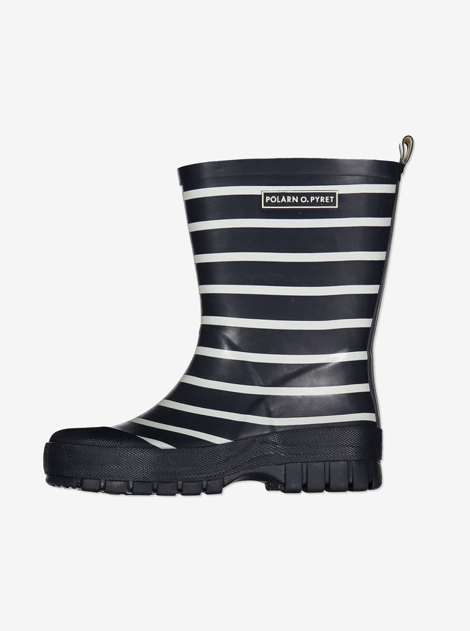 PO.P Stripe Navy Blue Kids Wellies
