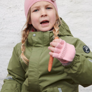 Kids Pink Flip-Top Gloves