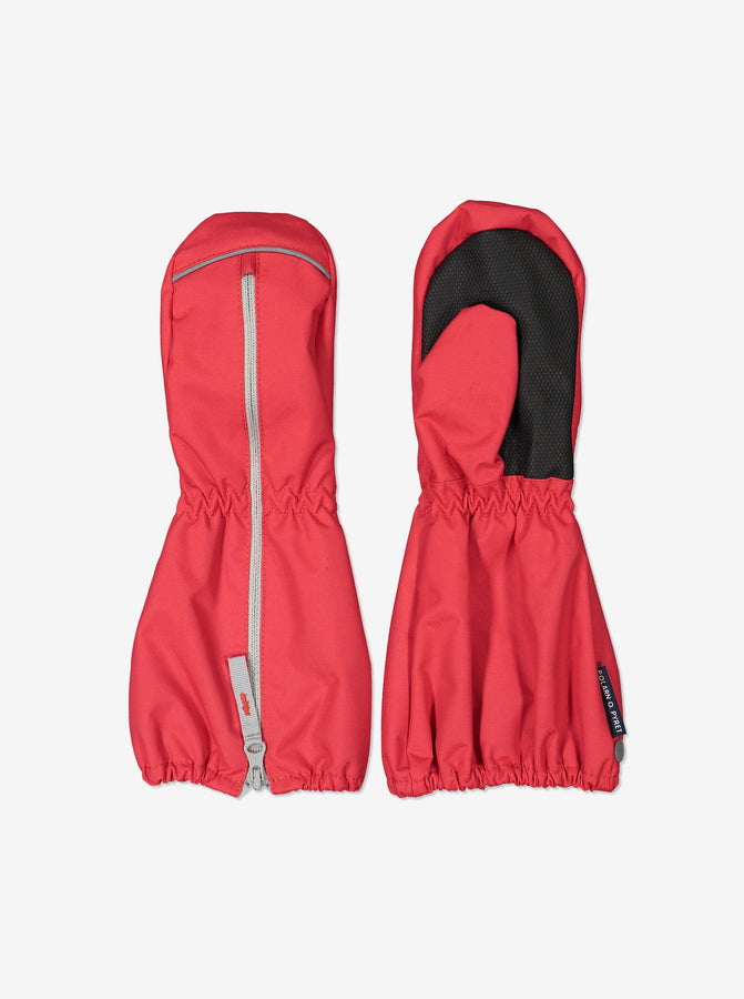 Kids Red Waterproof Shell Mittens