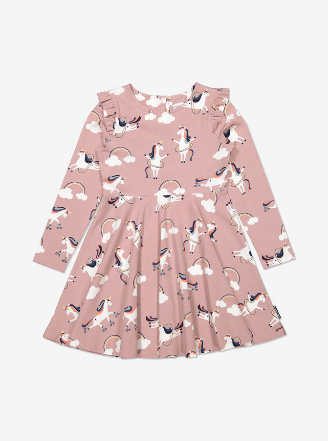 Girls Pink Kids Organic Cotton Unicorn Dress