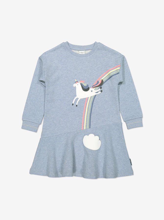 Girls Blue Kids Organic Cotton Unicorn Dress