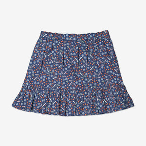 Girls Organic Cotton Blue Flowery Skirt