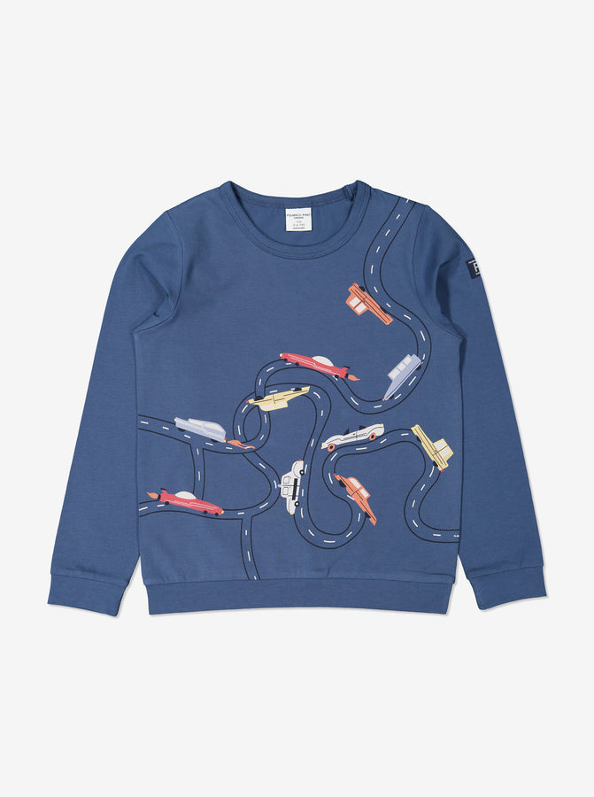 Boys Blue Racecar Print Organic Kids Top