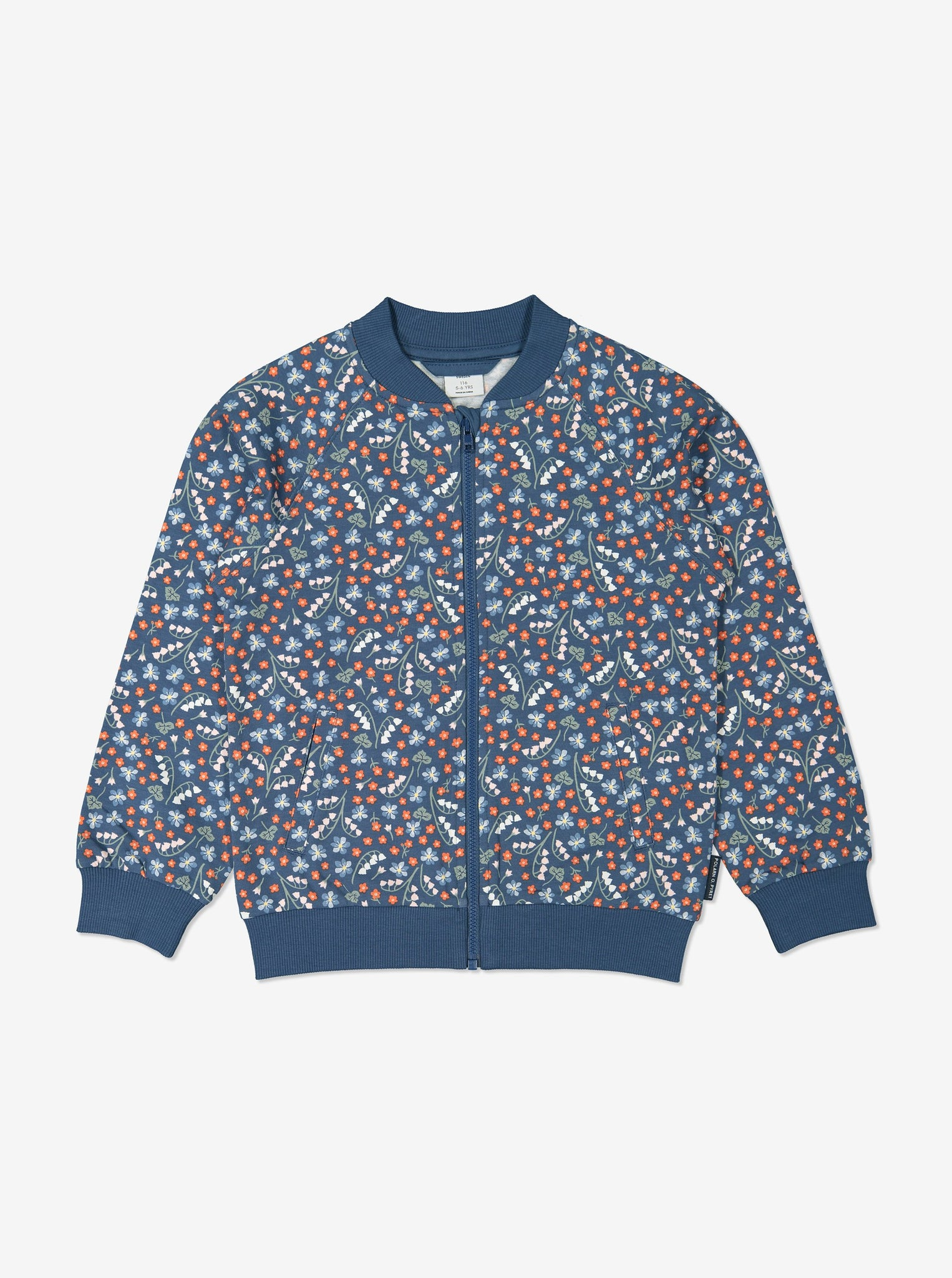 Girls Blue Kids Floral Print Jacket