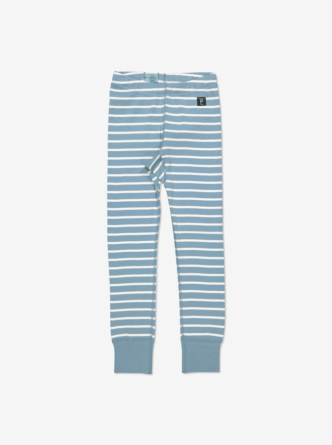 Kids Blue Striped Organic Leggings
