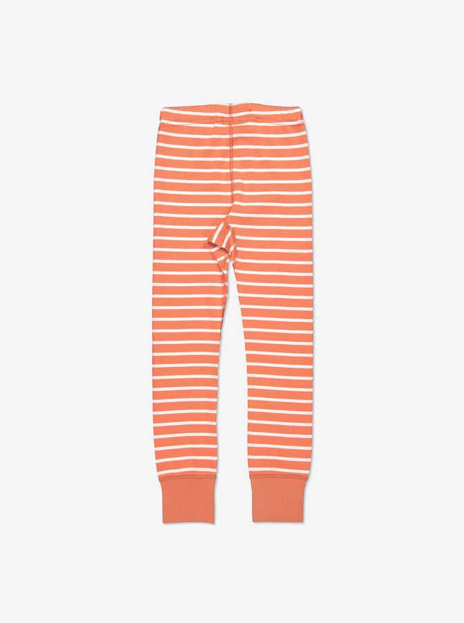 Kids Orange Striped Organic Leggings