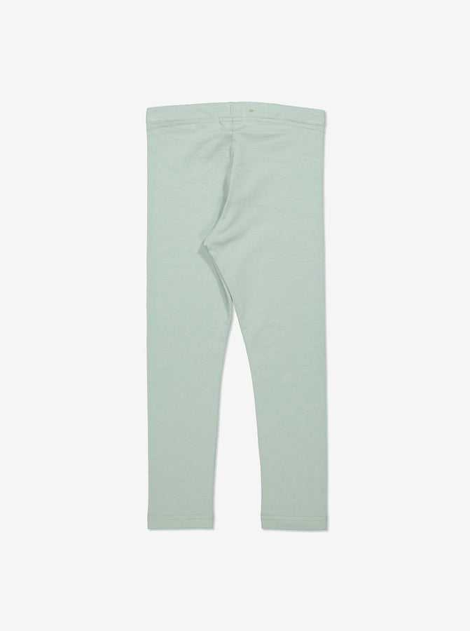 Girls Organic Cotton Green Leggings