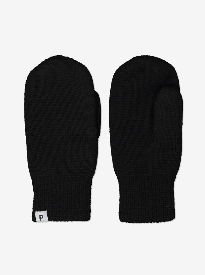 Kids Black Interlock Wool Gloves