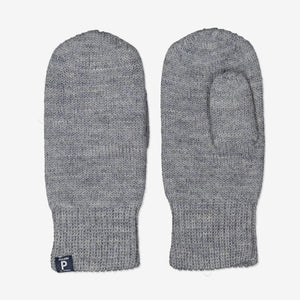 Kids Grey Interlock Wool Gloves