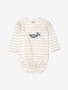 Unisex Natural Striped GOTS Wrap-around Newborn Babygrow