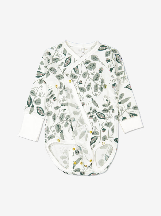 Girl Natural GOTS Organic Wrap-around Newborn Babygrow
