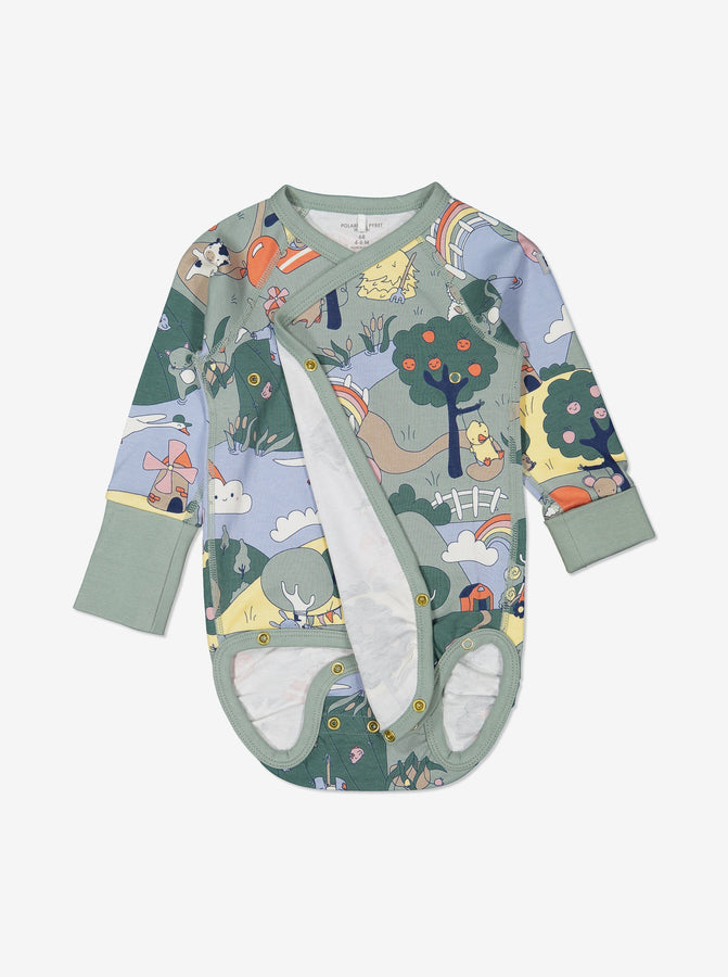 Unisex Green Organic Cotton Newborn Baby Bodysuit