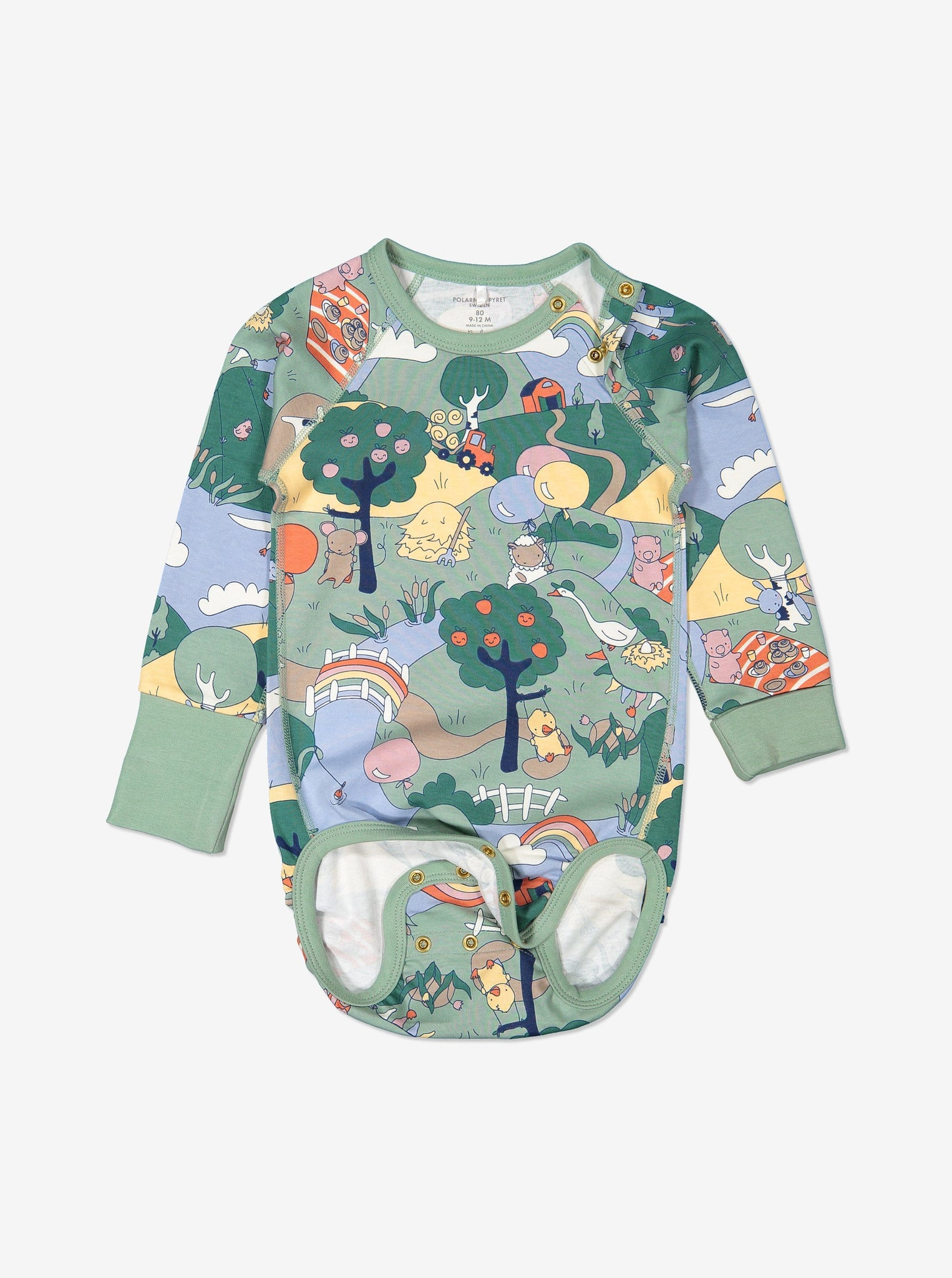 Unisex Green Organic Cotton Baby Bodysuit