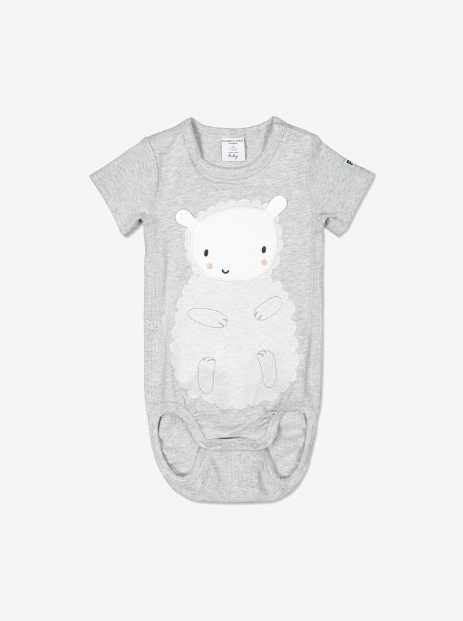 Unisex Grey Organic Cotton Newborn Baby Bodysuit