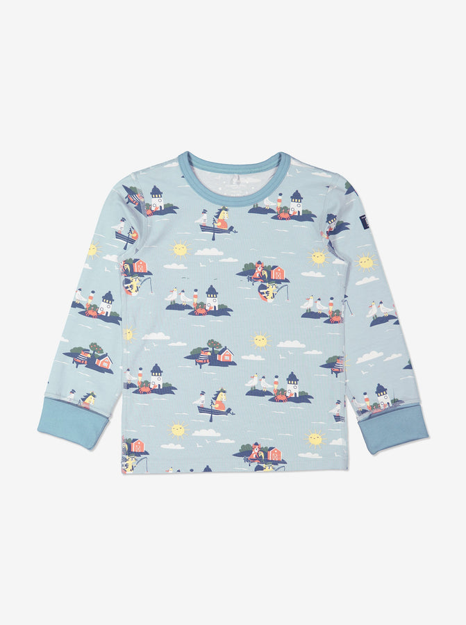 Boy Blue GOTS Organic Seaside Print Pyjamas