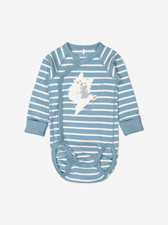 Blue and white striped babygrow for newborn babies in a wraparound style, made from GOTS organic cotton fabric with fun cat playing with ball applique