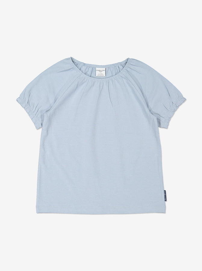 Girl Blue GOTS Organic Puff Sleeved T-Shirt